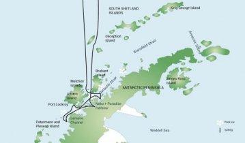 Antarctic trip map