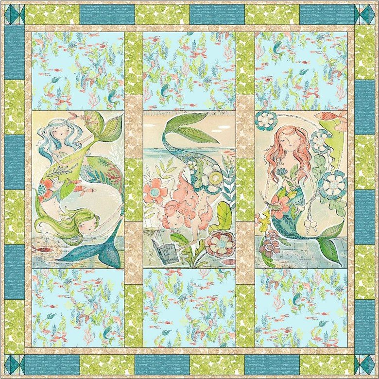 MERMAID DAYS//UNDER THE SEA QUILT KIT WITH BACKING//55x55//CORI DANTINI//BLEND