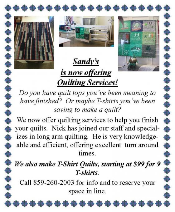 Sandy's Quilting Services
