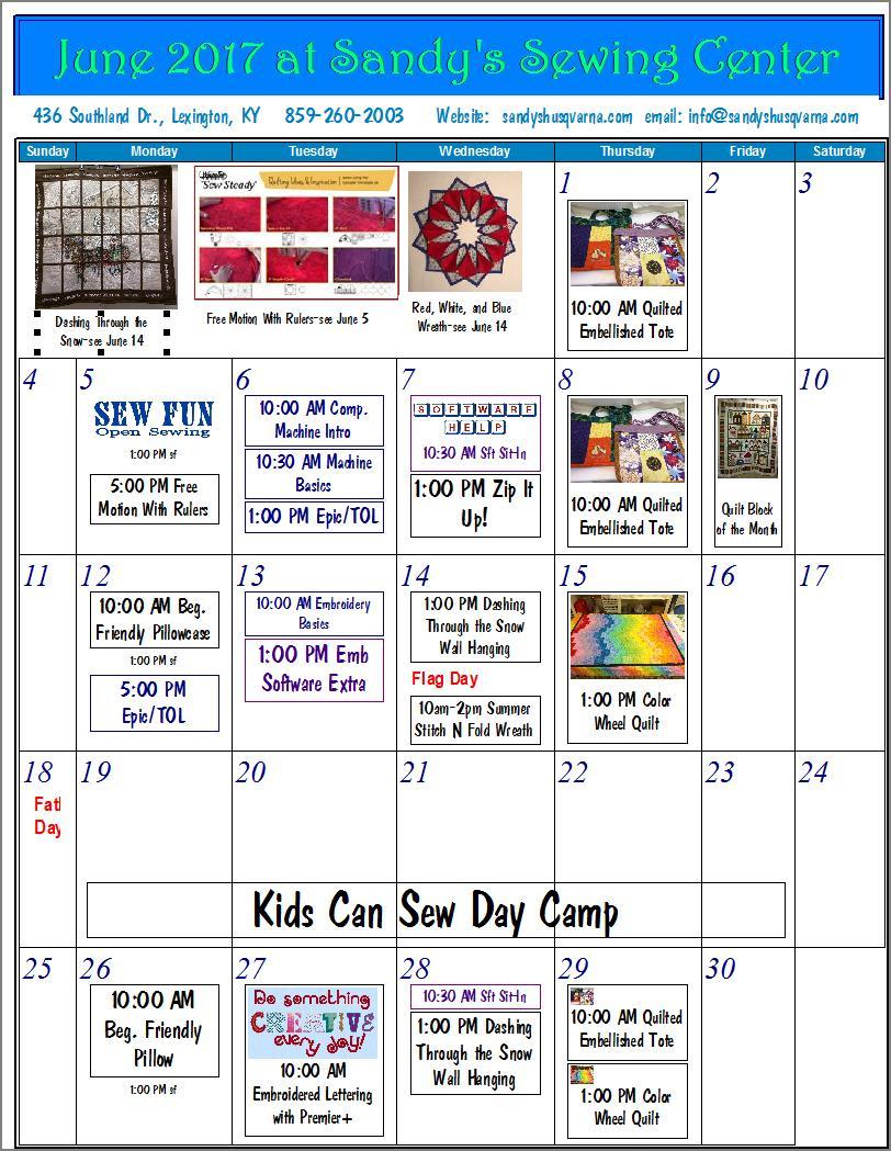 June Class Calendar
