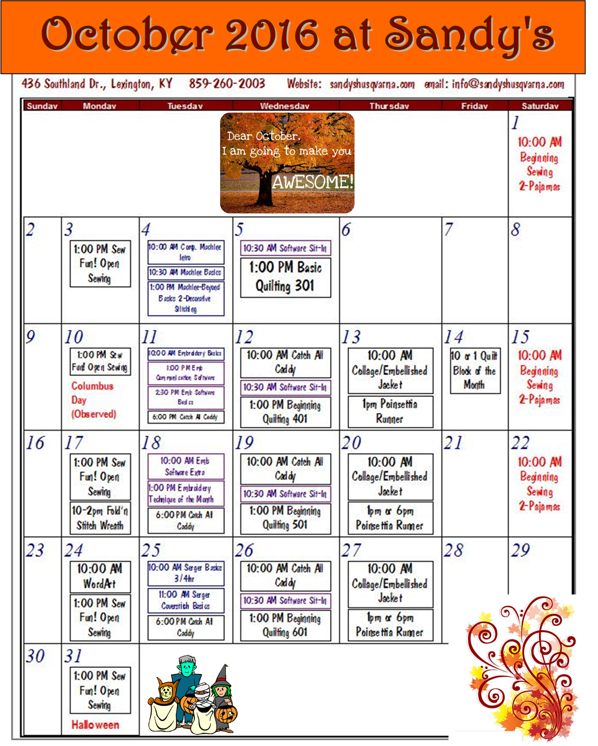 Sandy's October Classes