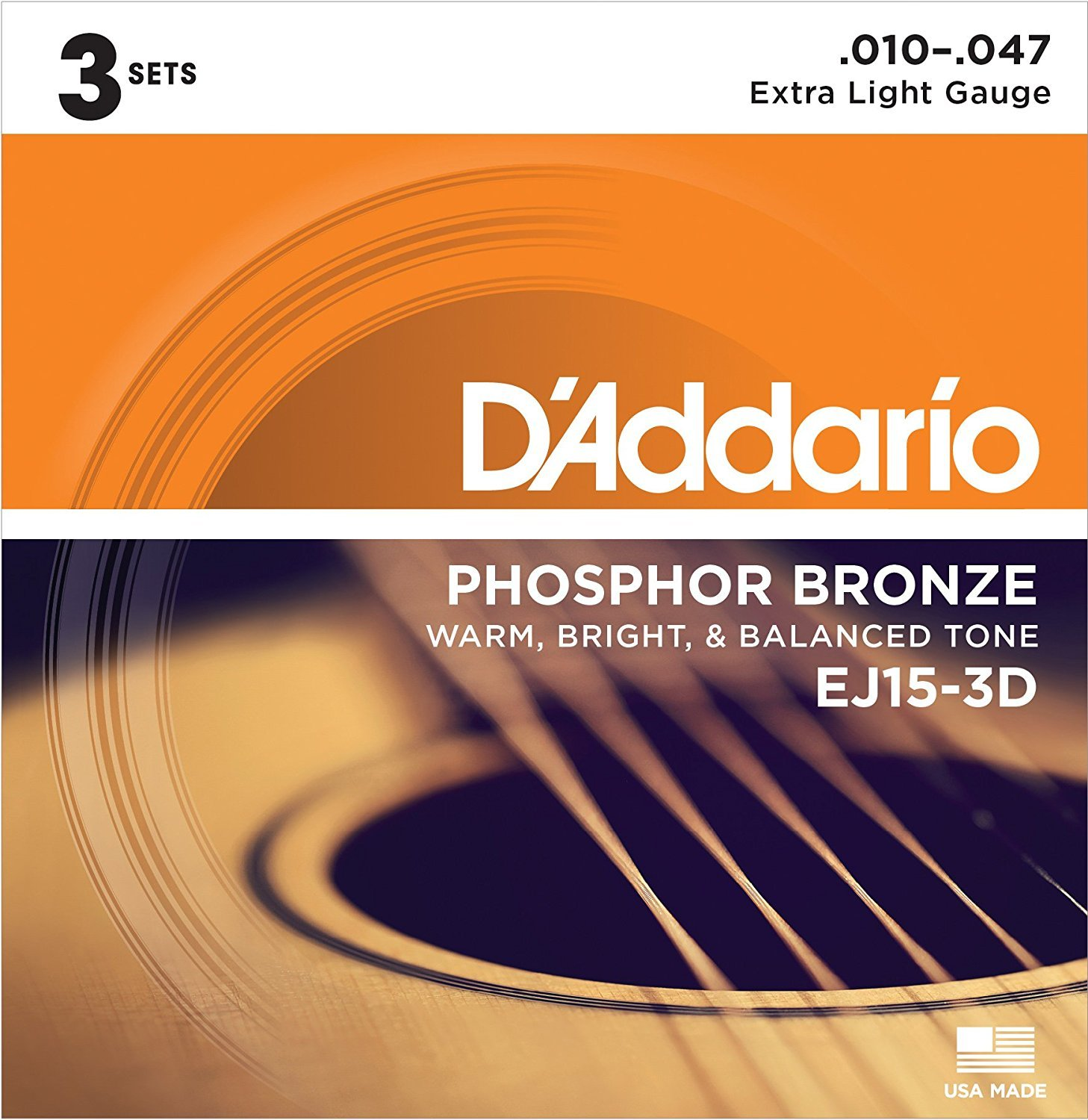 D'Addario EJ15-3D Phosphor Bronze Extra Light Acoustic Strings 3-Pack