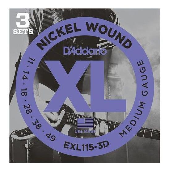 D'Addario EXL115-3D Nickel Blues/Jazz Electric Guitar Strings 3-Pack