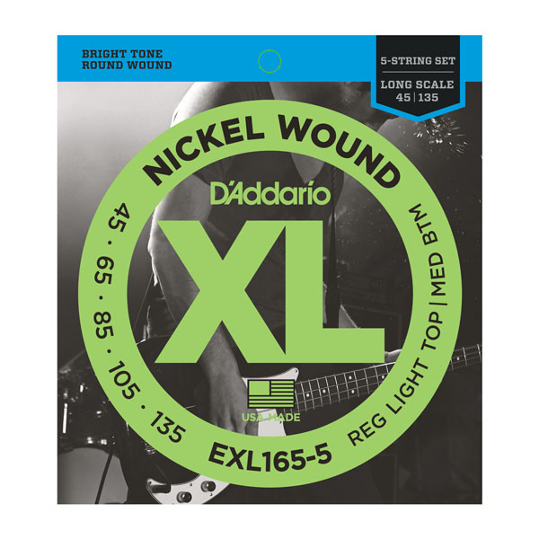 D'Addario XL165-5 Electric 5-String Bass Guitar Strings