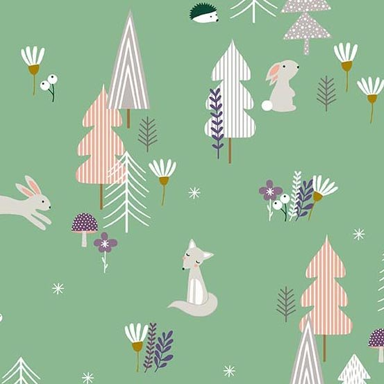 Forest Talk in GREEN by Cathy Nordstrom from Andover Fabrics