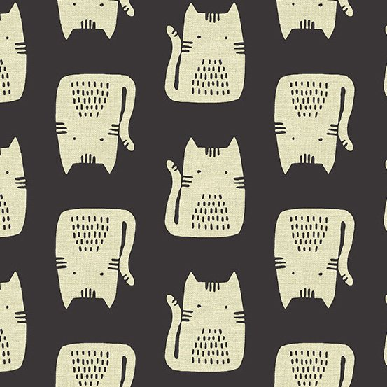 Maker Maker Linen in Cats BLACK by Sarah Golden for Andover Fabrics