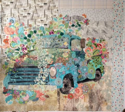 Old Blue Painterly And Floral Collage Kit By Laura Heine