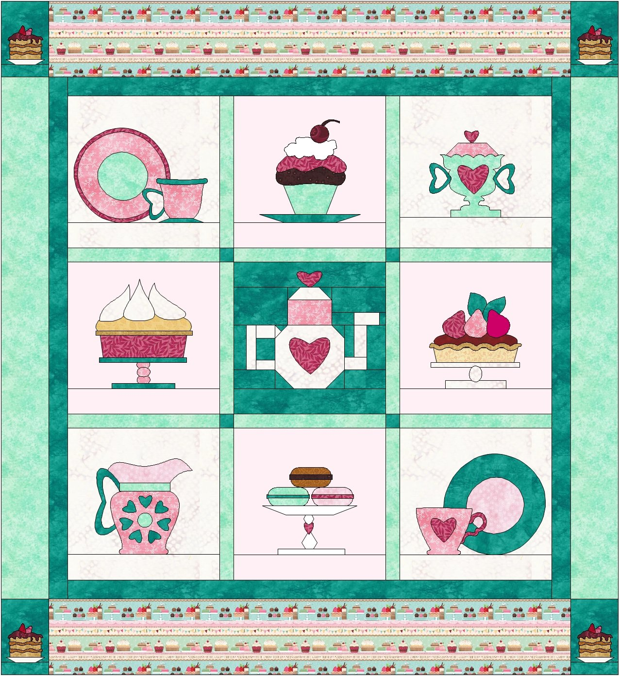 Cake and Tea Free Quilt Pattern BOM 2017