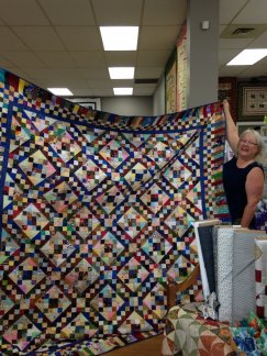 Bonnie Ronald and her Jacob's Ladder Quilt