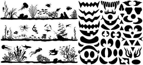 Medium Fire Black and White Enamel Glass Decals