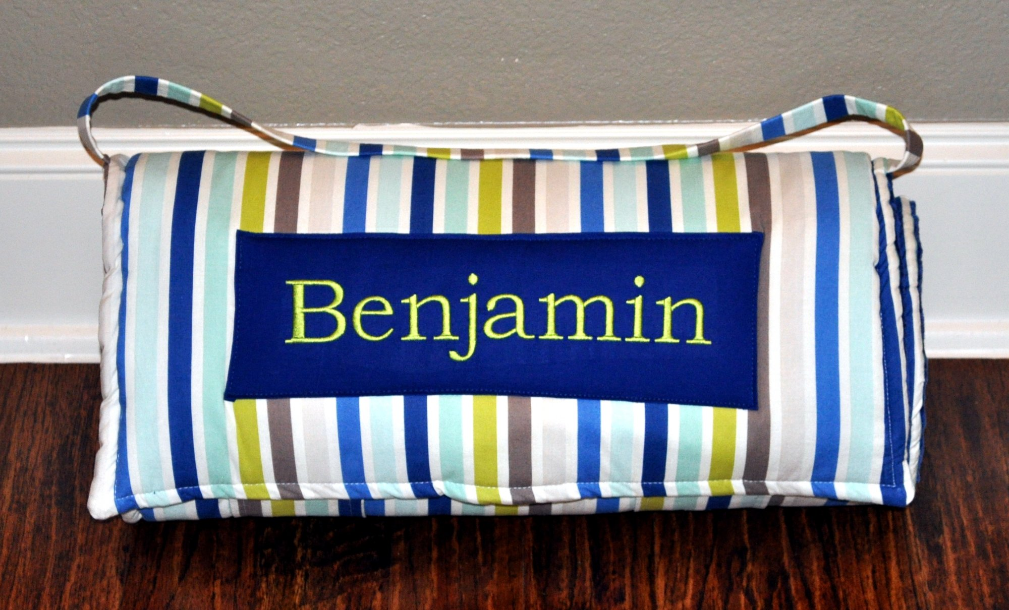 Personalized Seaside Navy Stripe Nap Mat With A Navy Minky