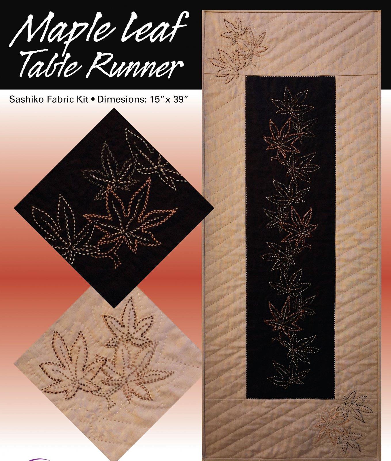 Maple Leaf Sashiko Table Runner