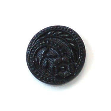 skacel Buttons - Glass Shiny Black Circling Flowers; Round shank