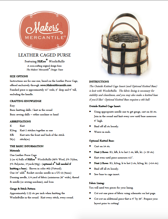 Makers' Mercantile Leather Purse Cage Pattern