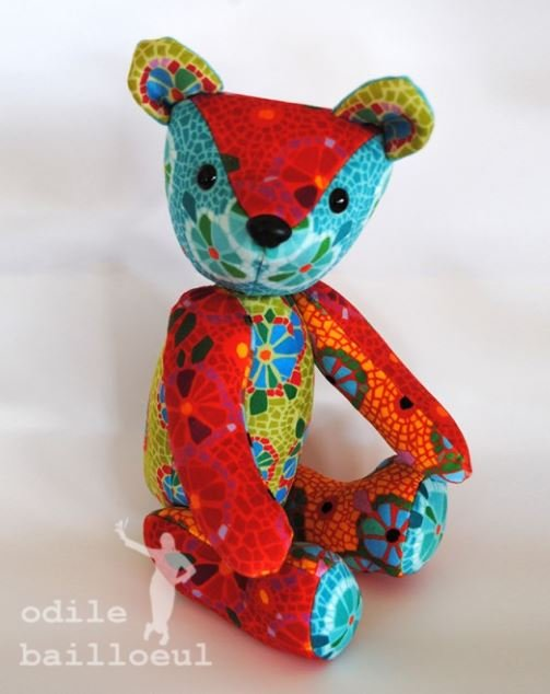 Odile Bailloeul Velvet Teddy Bear Sewing Kit - Mosaic