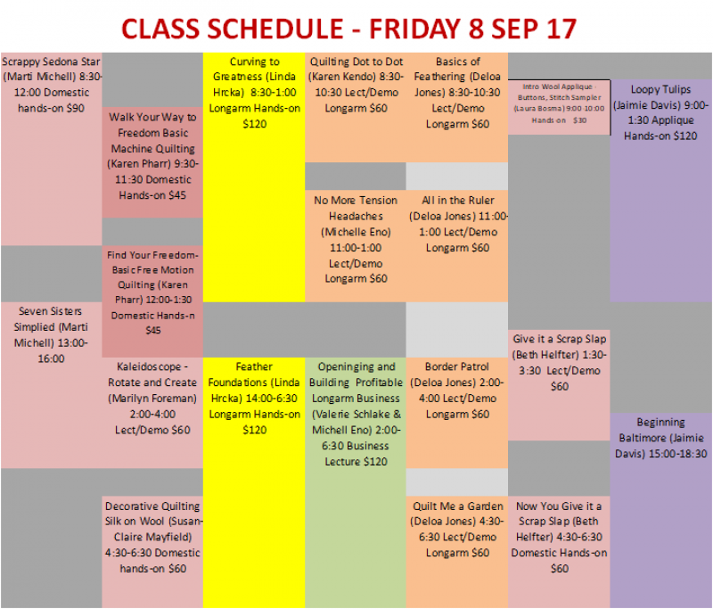 Friday Class Schedule