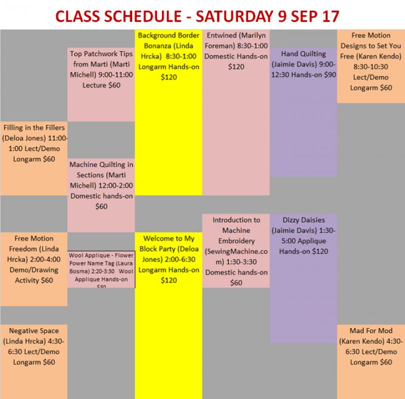 Saturday Class Schedule