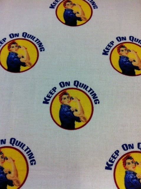 Retro Rosie The Riveter We Can Quilt Cotton Fabric Quilt