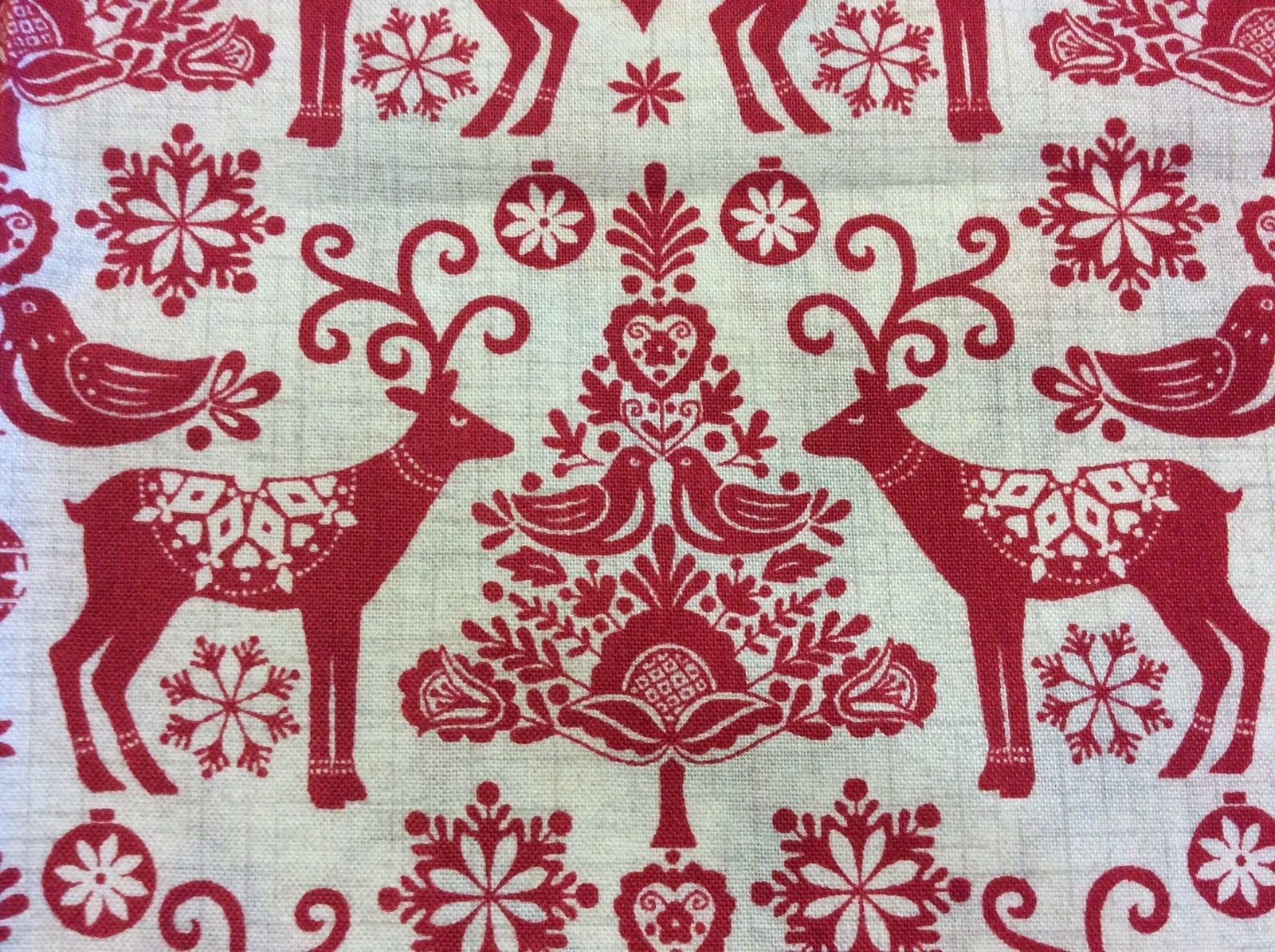 Retro Christmas Danish Modern Reindeer Paper Cut Cotton Quilting ...
