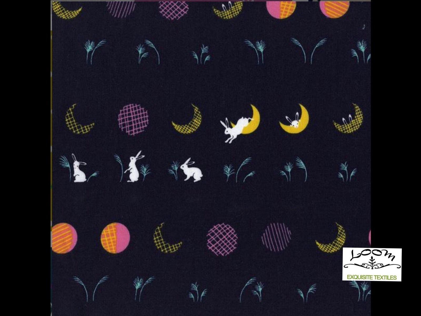 Cotton steel mochi hale bunny rabbit moon japan cotton for Moon print fabric
