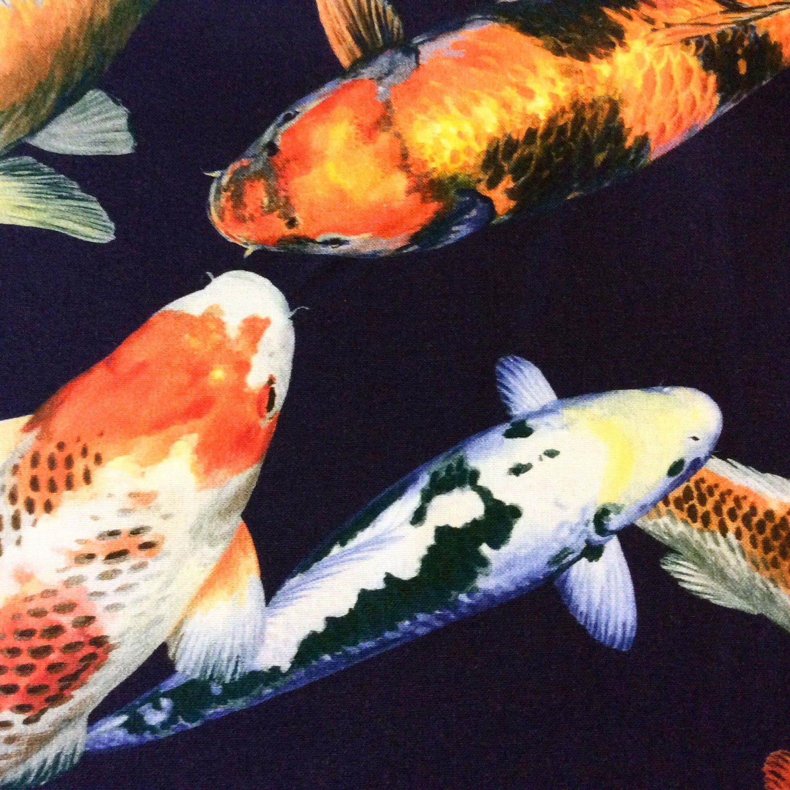 Asian print fabrics geisha japan china asia koi for Japanese koi carp fish