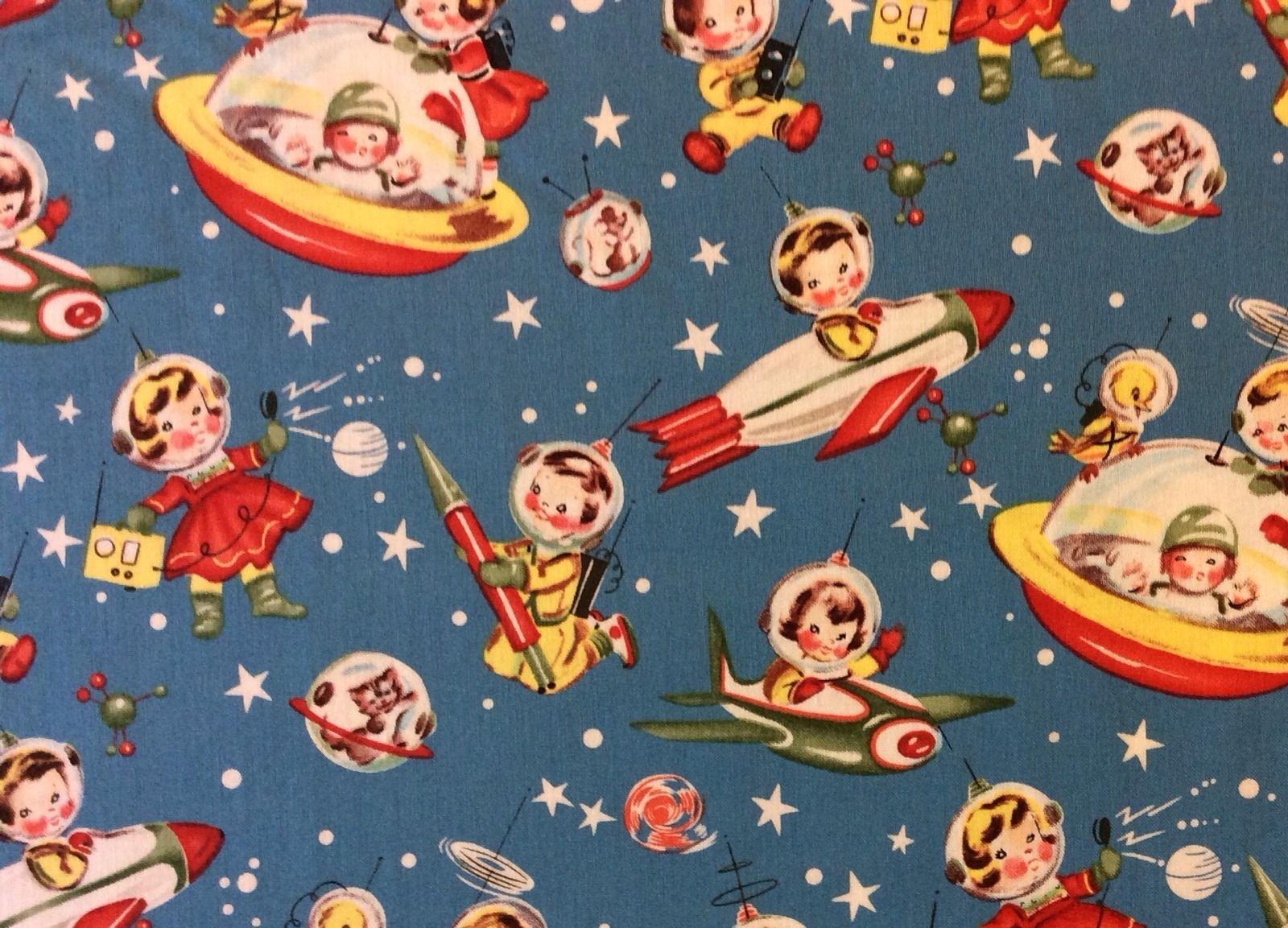 Retro atomic space ship rocket launch children toys cotton for Vintage space fabric