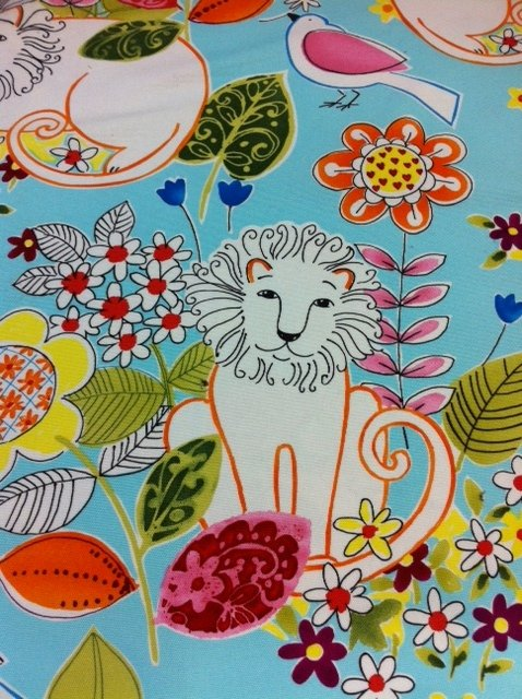 Leo Lion Mid Century Modern Alexander Henry Home Dec Cotton Fabric B10