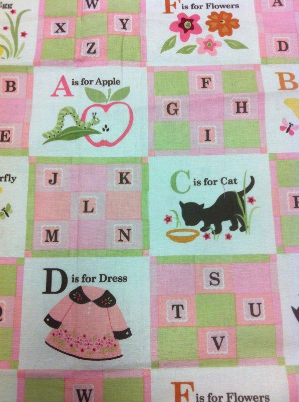 Pink and green little girl alphabet birds flowers dresses for Children s cotton dress fabric