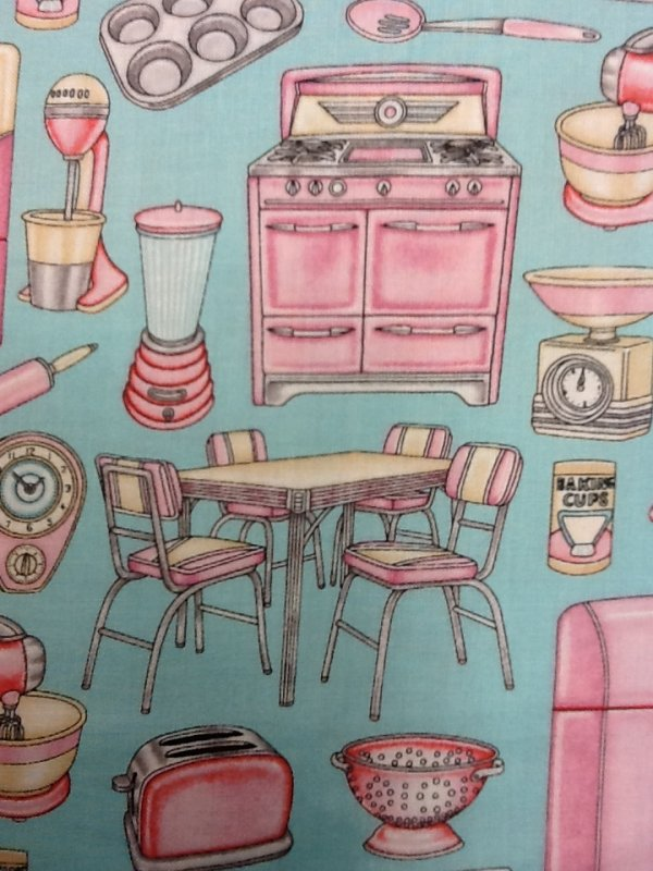 Vintage Kitchen Background ~ Retro pink kitchen appliances kitschy vintage on aqua