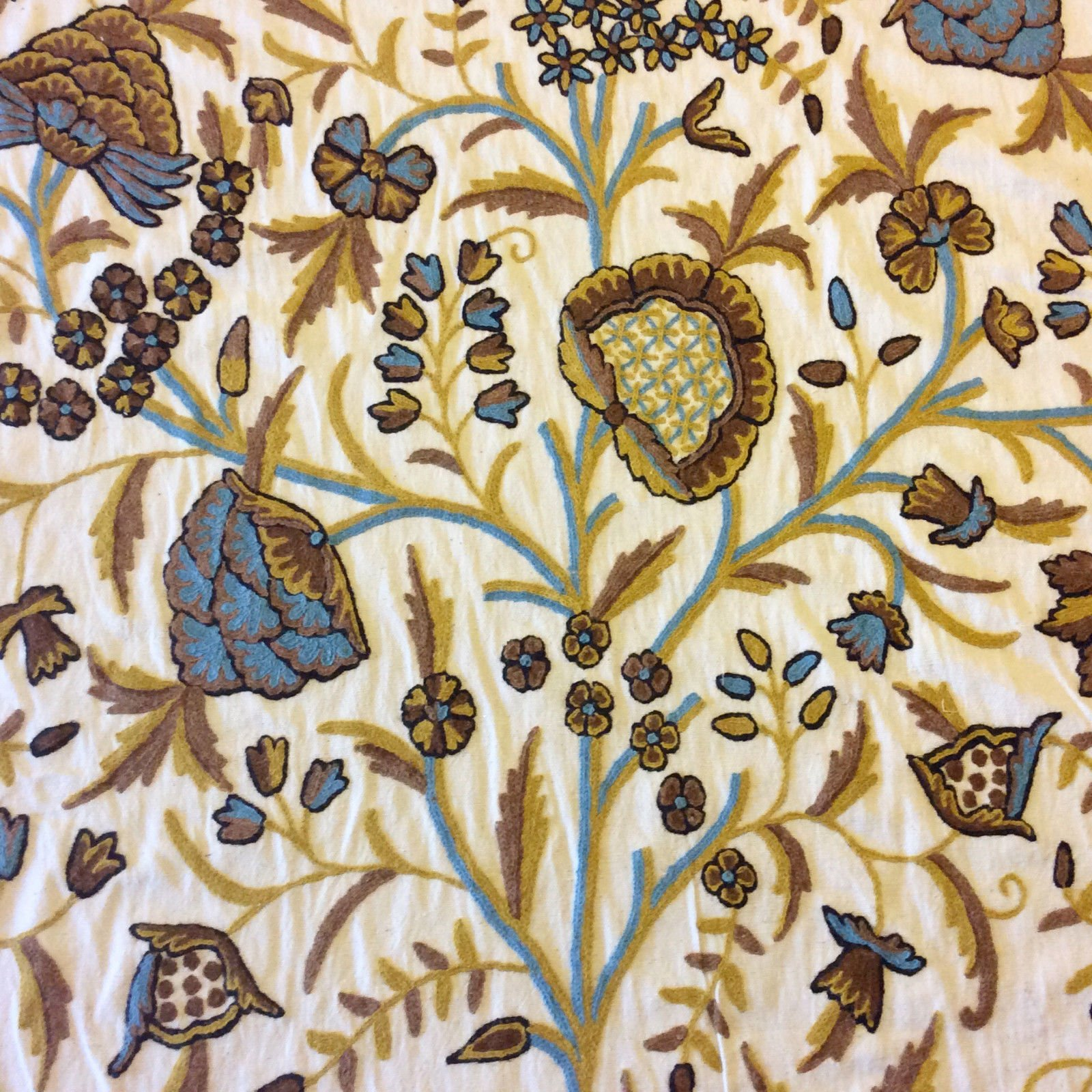 crewel exquisite chainstitch hand embroidered cotton crewel floral