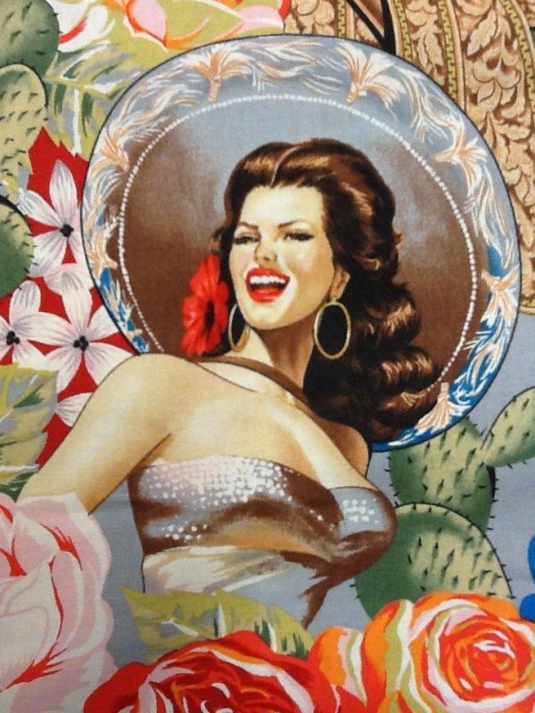 Las Senoritas Pin Up Ladies Mexico Spain Cactus Roses Vintage Gray Tone Cotton Quilting Fabric AH109