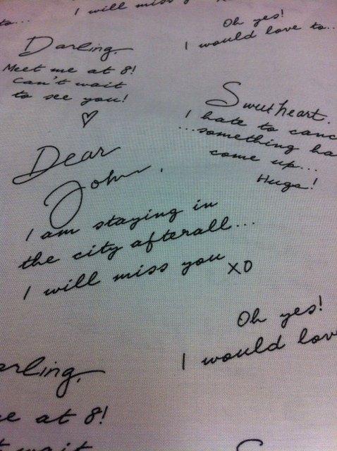 Script Dear John Love Letters Cotton Fabric Quilt Fabric CS288