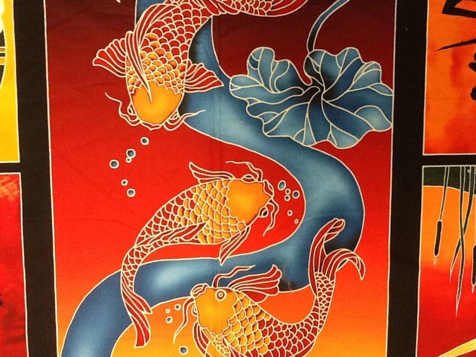 Japanese Koi Panel Japanese Characters Kanji Koi Fish Carp Crane Cotton Fabric Quilting Fabric FF133