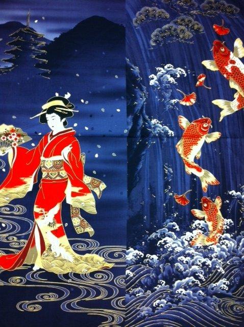 Japanese geisha koi fish cherry blossom panel midnight for Koi fish print fabric