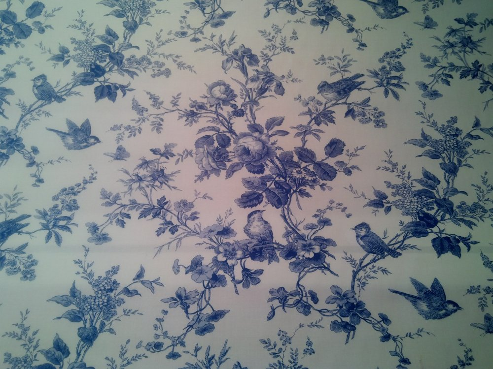 toile blue and white birds floral 100 cotton branches isabella thibaut home dec upholstery. Black Bedroom Furniture Sets. Home Design Ideas
