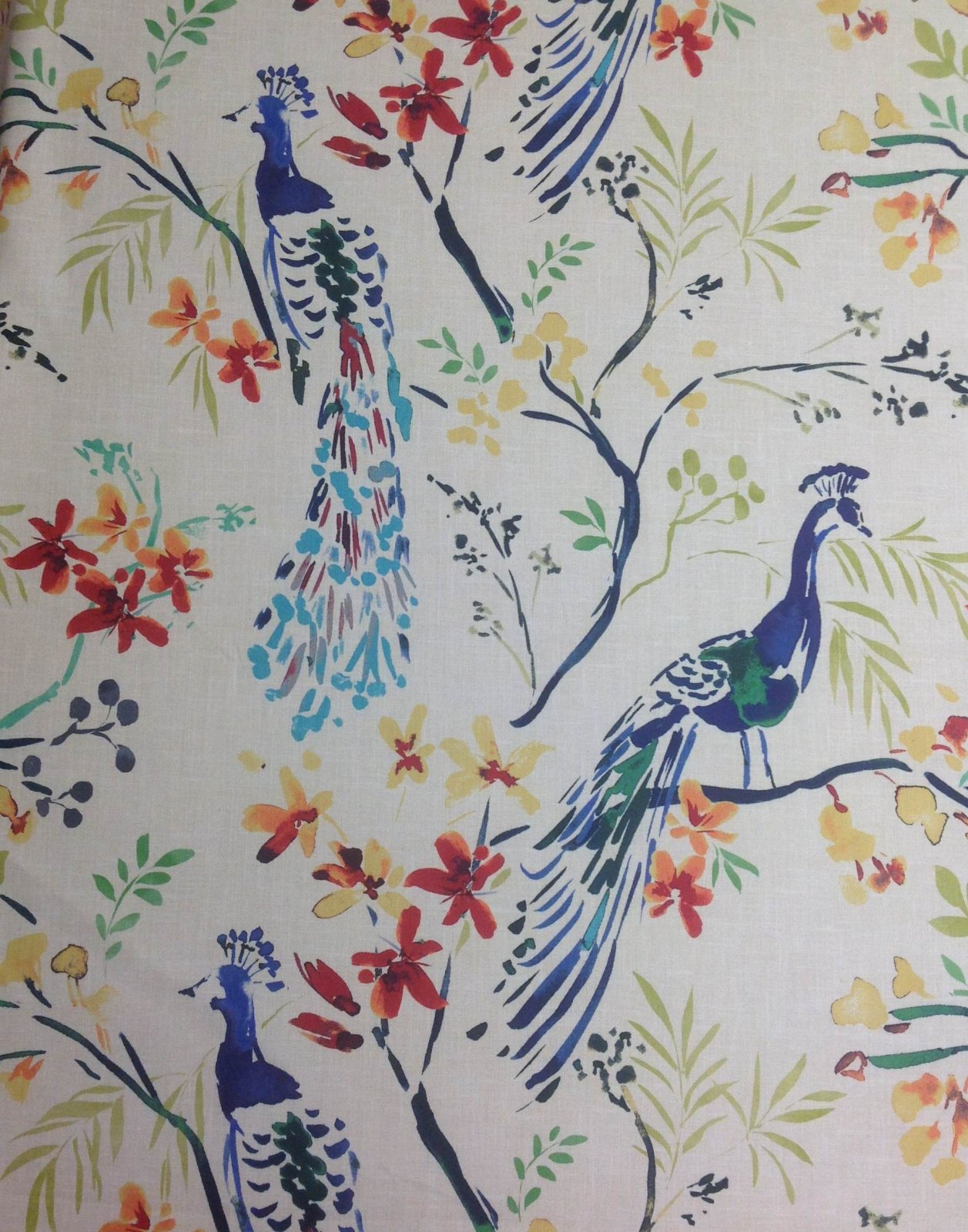 Hm118 Peacock Blue Bird Watercolor Painting Upholstery Home Decor Fabric