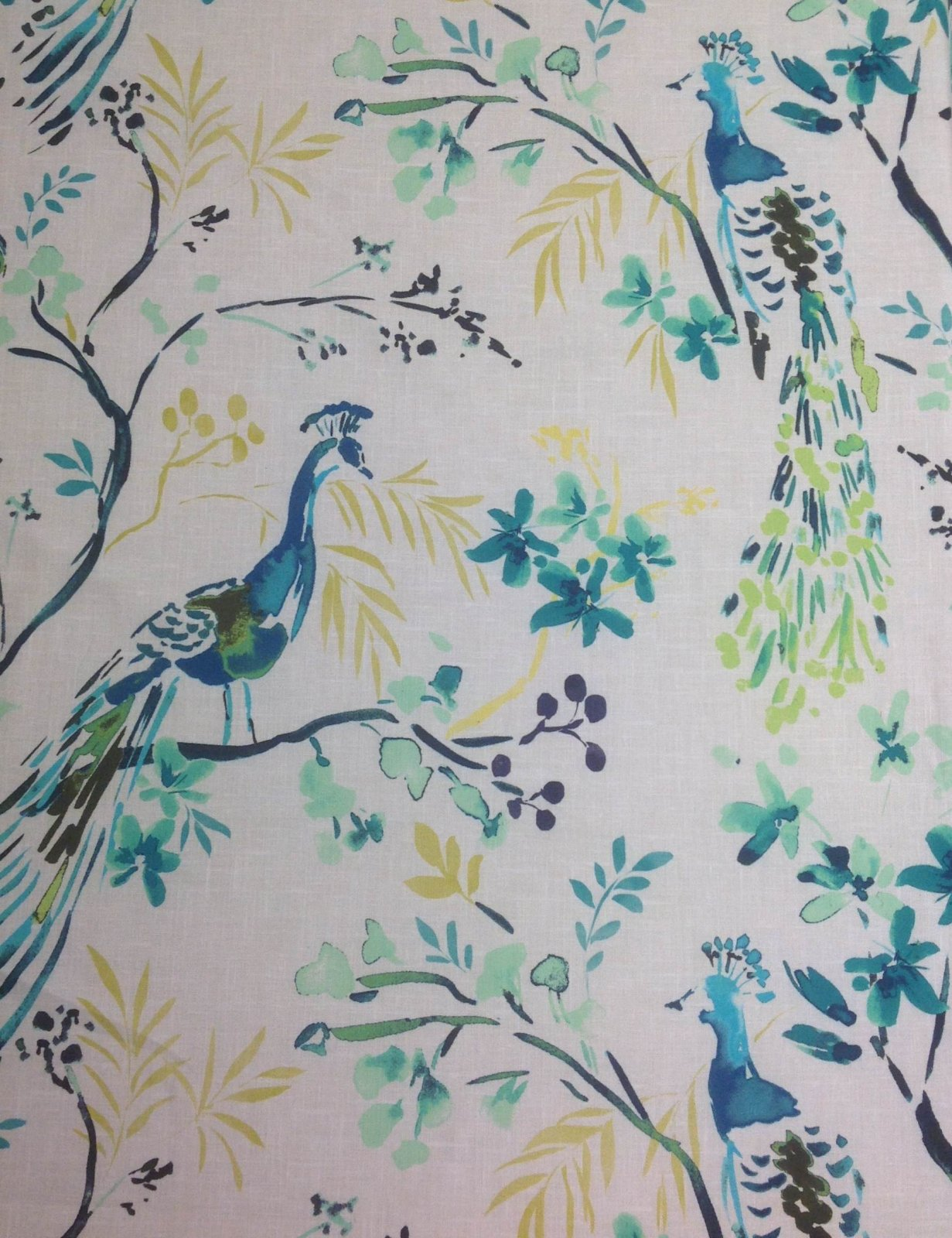 Hm120 Peacock Blue Bird Watercolor Painting Upholstery Home Decor Fabric