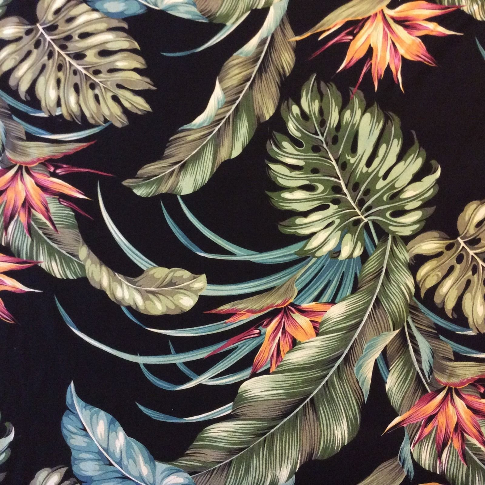 htp022 tropical flowers black palm floral 100% cotton dobby home