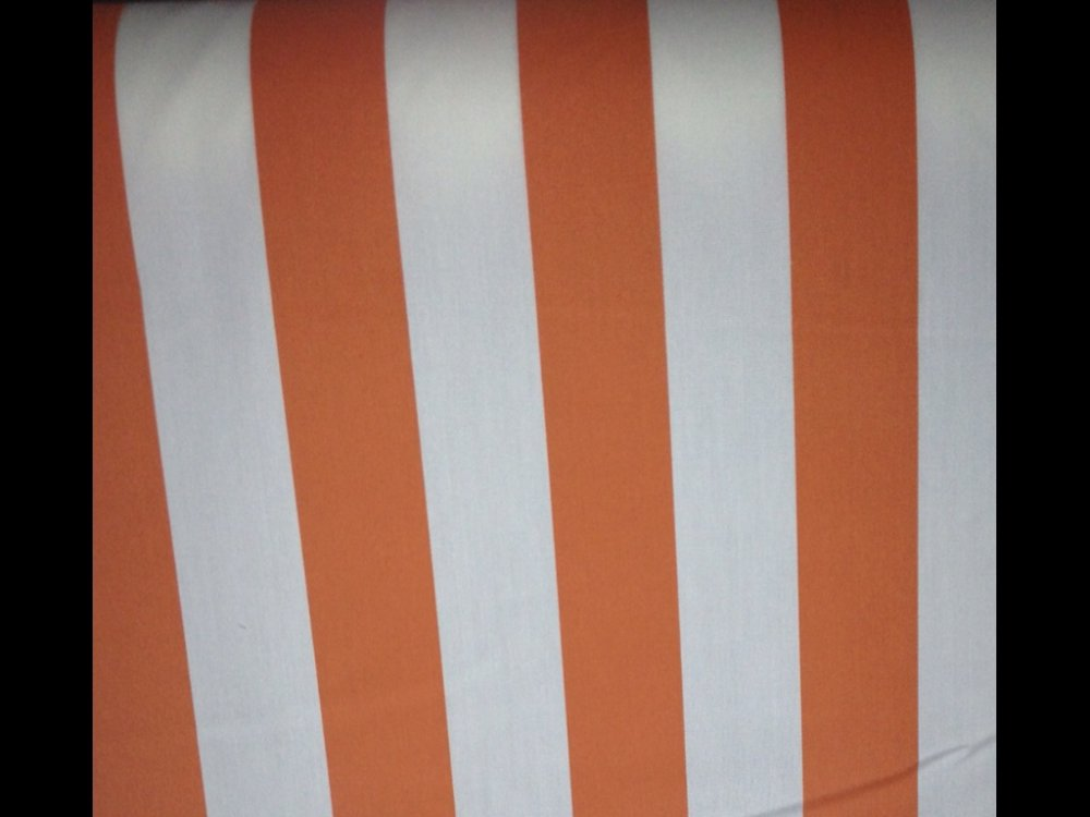 Awning Tent Stripe Tangerine U0026 White Famous Maker Printed Outdoor Fabric  SL016