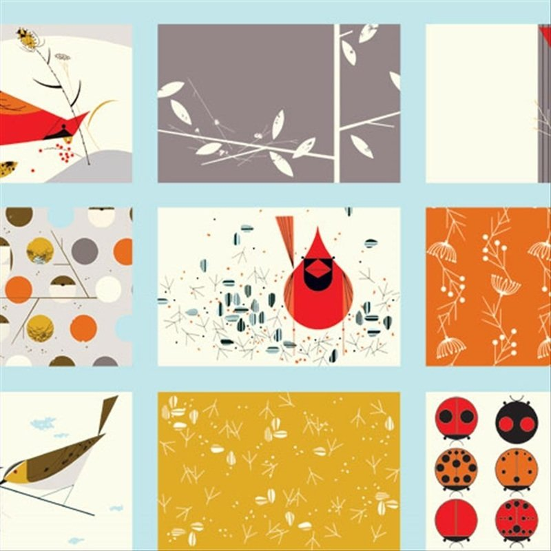 Charley Harper Cardinal Patch Bird Cheater Blocks Ladybugs ...