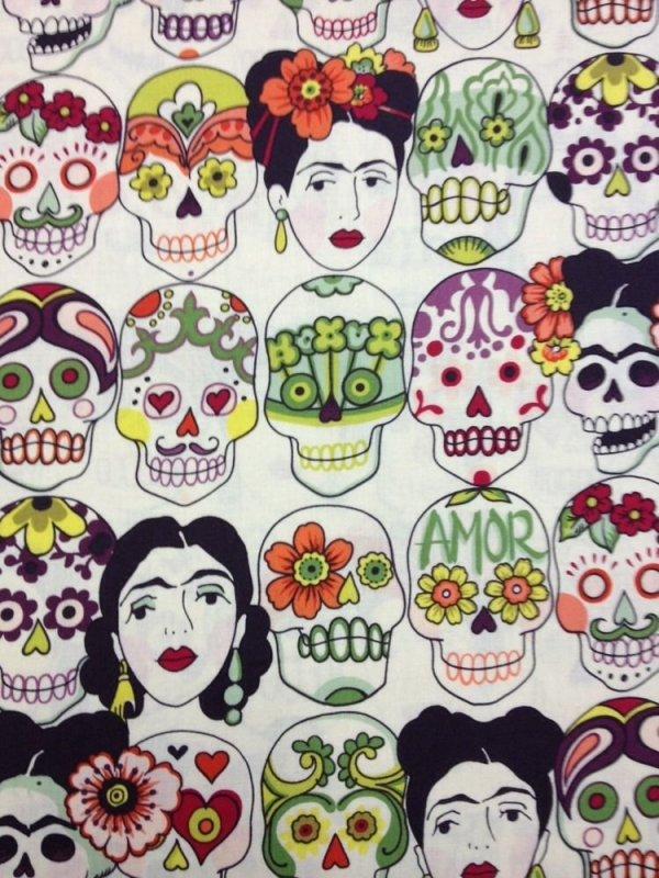 Frida Kahlo Sugar Skull Gotas Amor Mexico Cotton Fabric