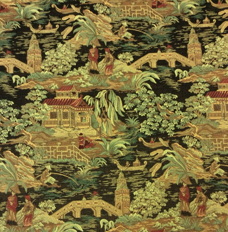 Asian Toile Tapestry Fabric Heavy Weight Upholstey Fabric