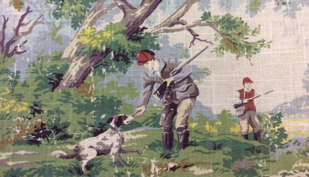 Toile English Hunt Fishing Hunting Dog Pointer Scenic