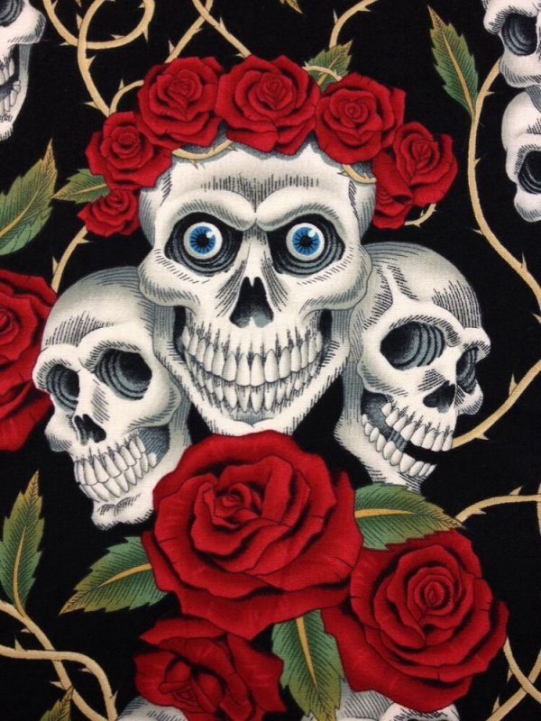 rose tattoo skull rose biker goth grateful dead outsider art cotton fabric quilt fabric blue. Black Bedroom Furniture Sets. Home Design Ideas