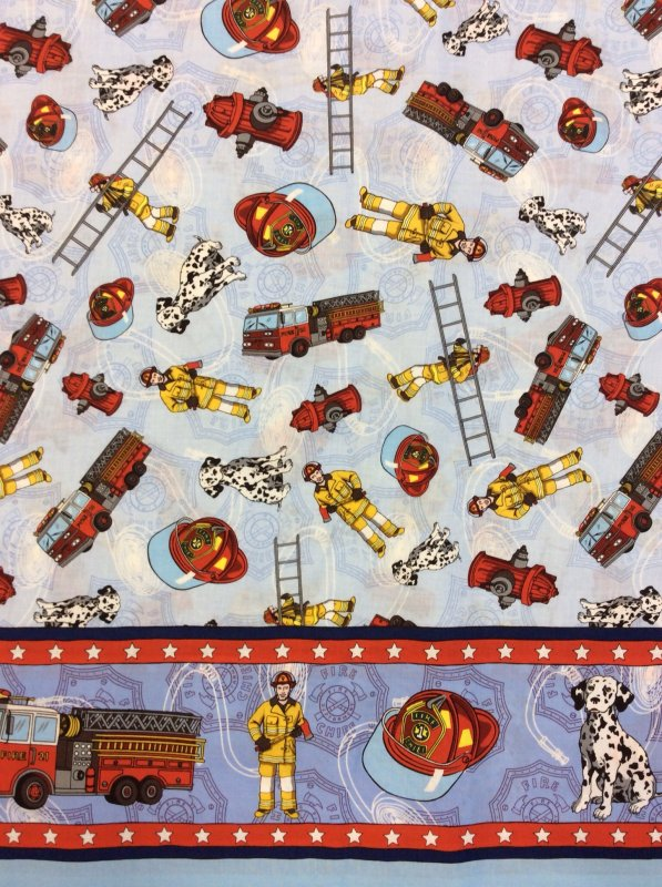 EMERGENCY! Fireman Fire Fighter Fire Truck Dalmation Cotton Fabric Quilt Fabric MD04