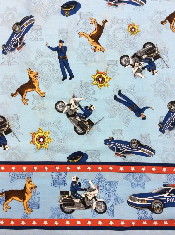 EMERGENCY! Police Officer Police Dog K9  Motorcycle Badge Cops Cotton Fabric Quilt Fabric MD02