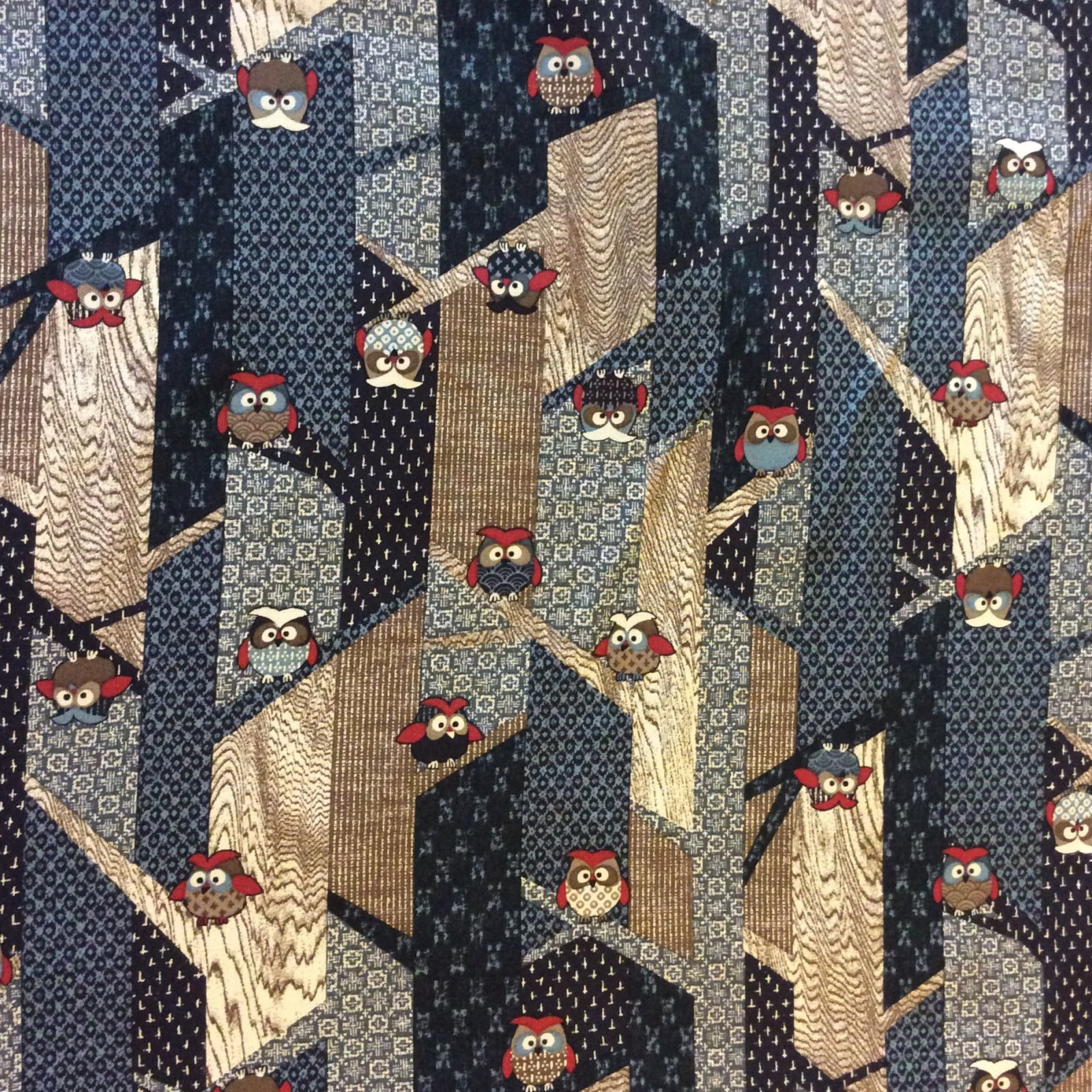 Asian owls birds modern sevenberry japanese patchwork for Cotton quilting fabric