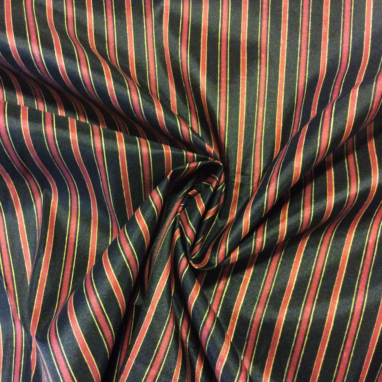 Faux Silk Thin Stripe Black Red Yellow Drapery Fabric Lhd234
