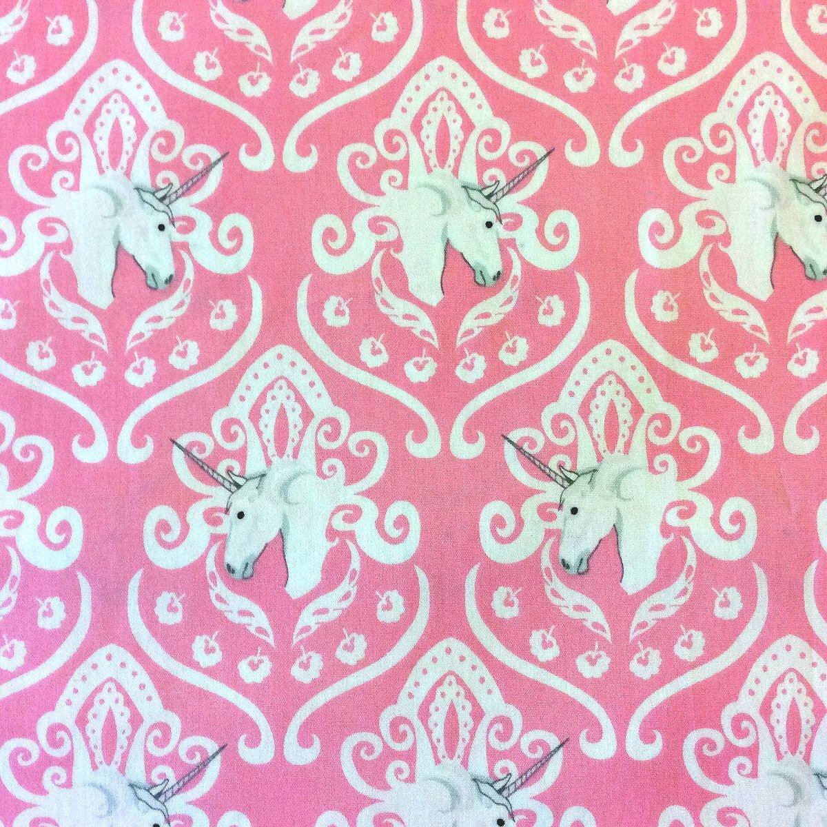 Fantasia unicorn damask cameo fantasy princess cotton for Cotton quilting fabric