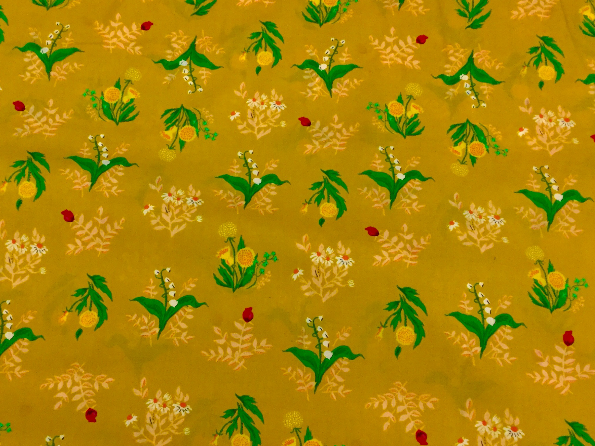 Heather Ross Sleeping Porch Golden Mustard Yellow Lily Of